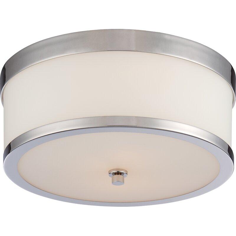 Ebern Designs  Curtin 2-Light Flush Mount Finish: Polished Nickel
