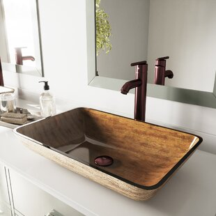 Affordable Fusion Glass Rectangular Vessel Sink Bathroom Sink with Faucet By VIGO