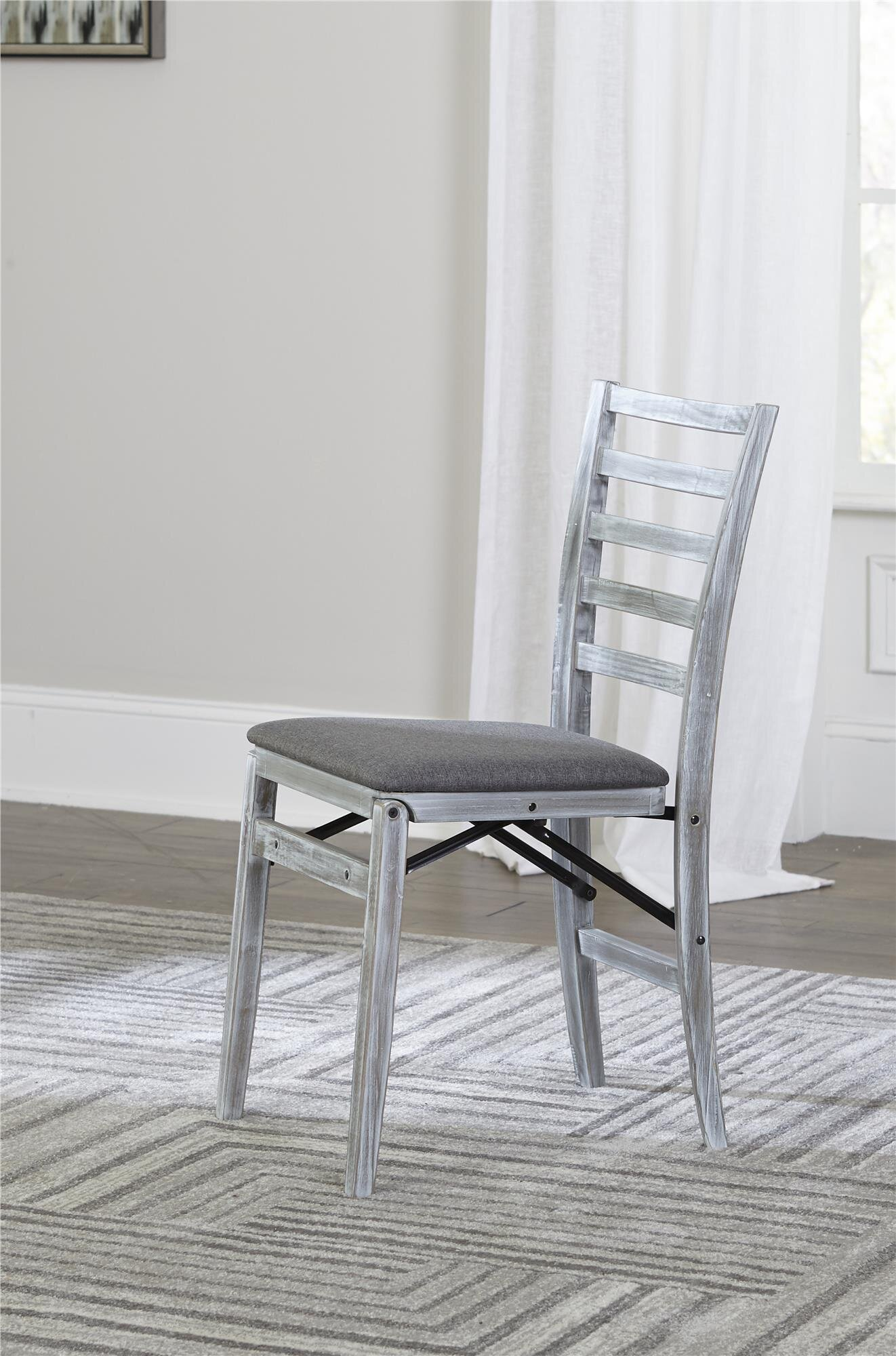 Gray 2 Pack Cosco Wood Folding Chair with Fabric Seat