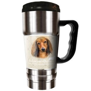 Howard Robinson's Red Longhair Dachshund 20 oz. Stainless Steel Travel Tumbler