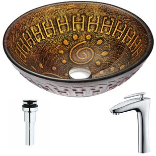 ANZZI Opus Glass Circular Vessel Bathroom Sink with Faucet