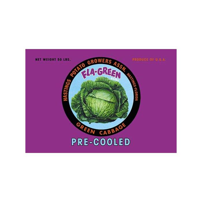 SUPERIOR Cabbage Vegetable Crate Label Hastings FL BIG Cabbage