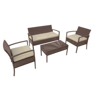 Piche 4 Piece Sofa Set with Cushions by Wrought Studio
