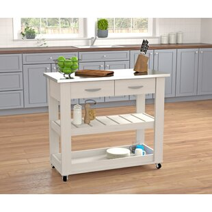 Kitchen Cart with Stainless Steel Top by Dovecove