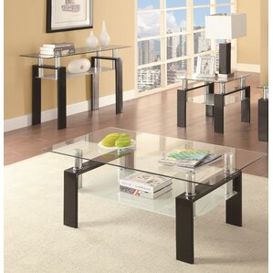 glass living room table set.  Glass Coffee Table Sets You ll Love Wayfair