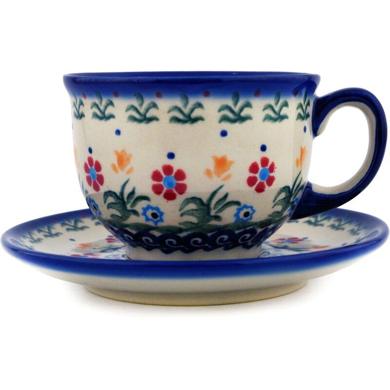 Polmedia Polish Pottery Spring Flowers Coffee Mug With Saucer Reviews Wayfair