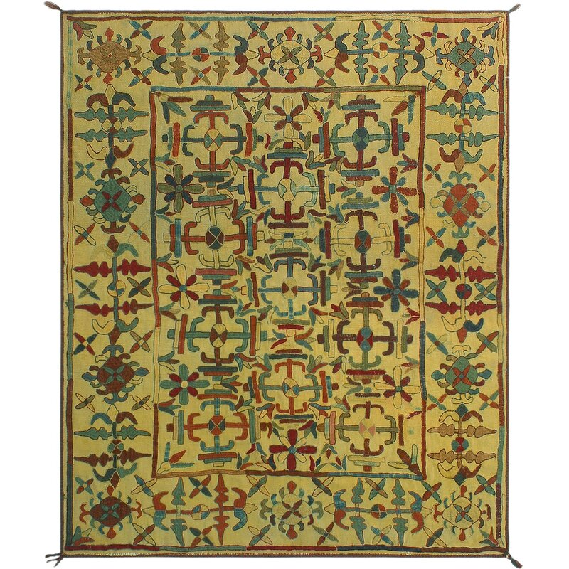 Isabelline One Of A Kind Treva Hand Knotted Yellow 5 6 X 6 8 Wool Area Rug Wayfair