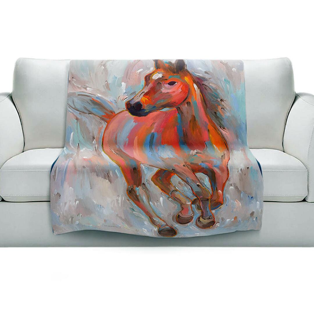 East Urban Home Equine Elegance I Horses Soft Sherpa Blanket Wayfair