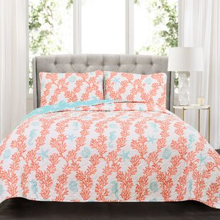 Cespedes Coral Cotton 3 Piece Reversible Quilt Set