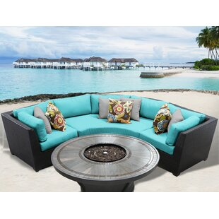 TK Classics Barbados 4 Piece Rattan Sectional Set with Cushions