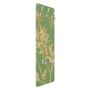 Golden Leaves On Green II Wall Mounted Coat Rack By Symple Stuff