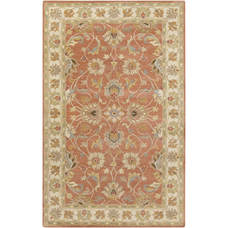 Birch Lane Arden Floral Hand Tufted Wool Burnt Orange Area Rug Reviews Wayfair