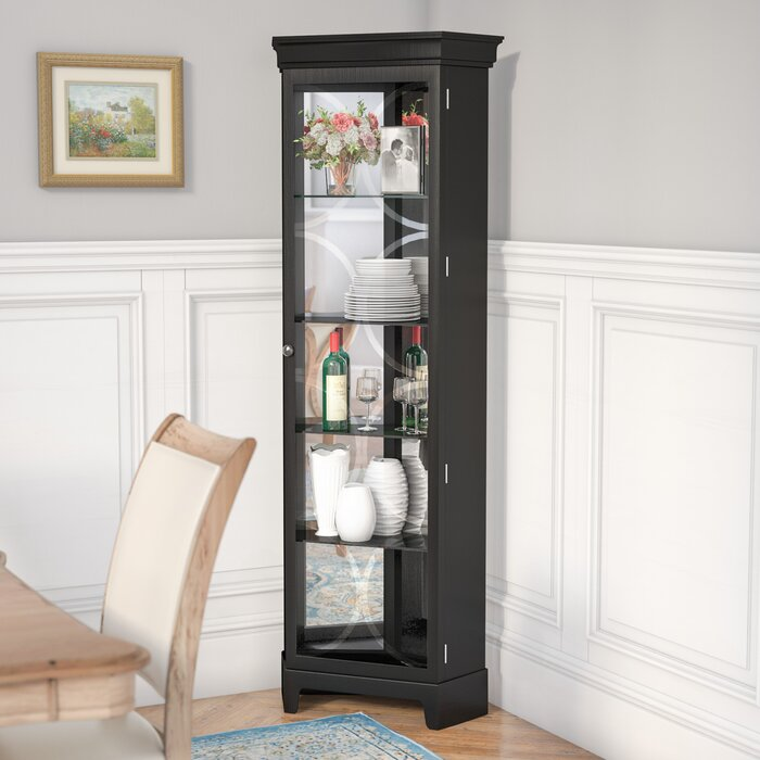 Nyo Lighted Corner Curio Cabinet Reviews Birch Lane
