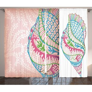 Colorful Seashells Nautical Room Darkening Rod Pocket Curtain Panels (Set of 2) by East Urban Home