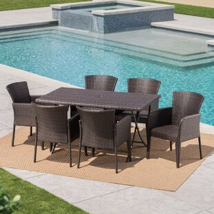 Orren Ellis Emi Outdoor Wicker 7 Piece Dining Set