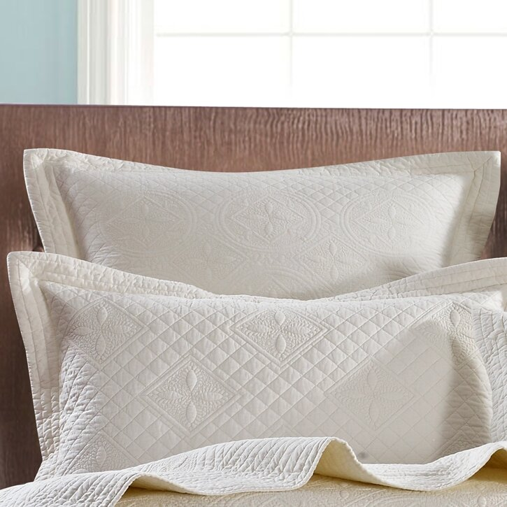 One Allium Way Boaz Luxury Pure Cotton Quilted Pillow Sham Reviews Wayfair Ca