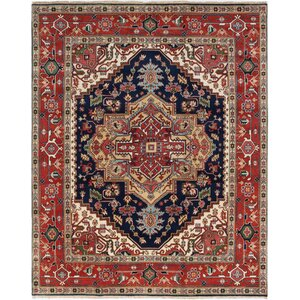 One-of-a-Kind Briggs Hand Knotted Wool Dark Copper/Dark Navy Fringe Area Rug