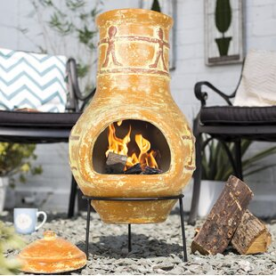 Berenice Clay Wood Burning Chiminea By Sol 72 Outdoor