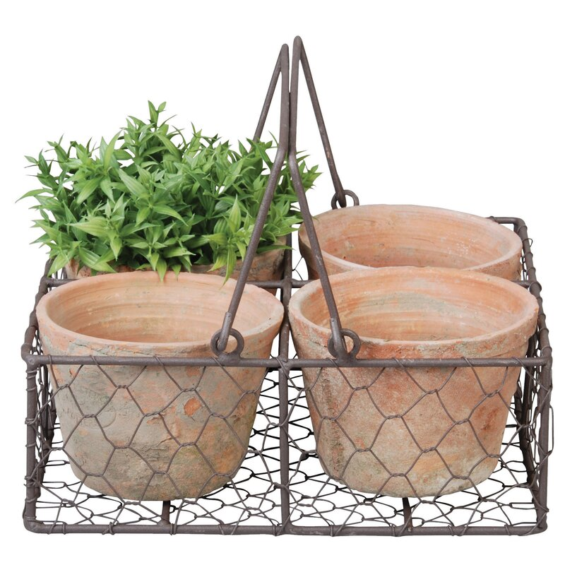 4-Piece Terracotta Pot Planter Set in Metal Basket