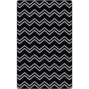 Online Reviews Sharpsburg Chevron KidS Black/White Area Rug By Zoomie Kids
