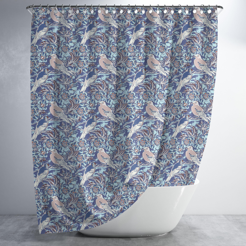 Bird Branches Luxury Shower Curtain Set Hooks