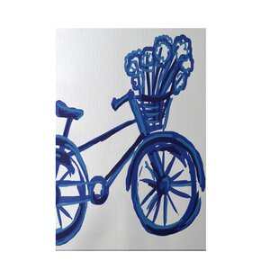 La Bicicleta Geometric Print Dazzling Blue Indoor/Outdoor Area Rug