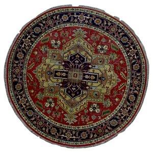 One-of-a-Kind  Roselle Oriental Round Hand Woven Wool Blue/Red Area Rug