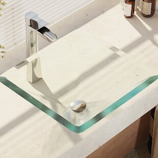 Find Glass Square Vessel Bathroom Sink with Faucet ByRené By Elkay