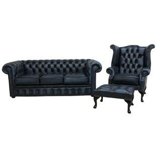 Marland Chesterfield 3 Piece Leather Sofa Set By Rosalind Wheeler
