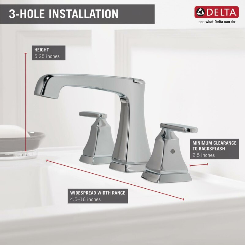 Delta Ashlyn Widespread Bathroom Faucet Drain Assembly and Diamond ...