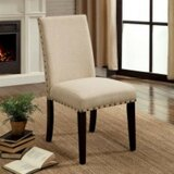 Duguay Transitional Cotton Upholstered Ladder Back Side Chair in Brown (Set of 2) by Gracie Oaks