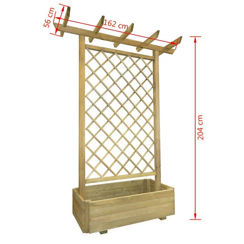 Wooden Planter Box With Trellis