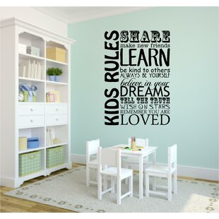 Kids Rules Playroom School Wall Decal