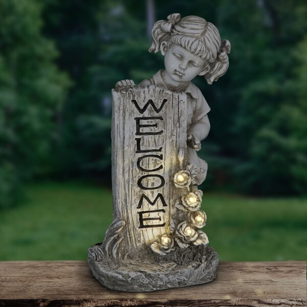 image Sentimental Stone Solar Girl with Welcome Sign Statue byAugust Grove®