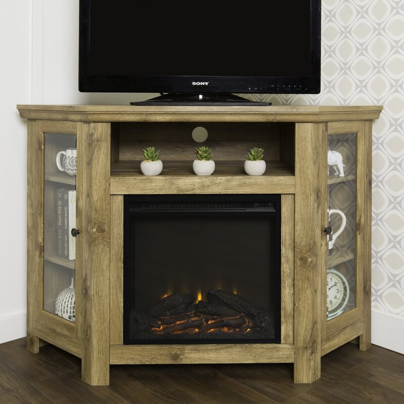 Corner TV Stand with Electric Fireplace Reviews Joss Main