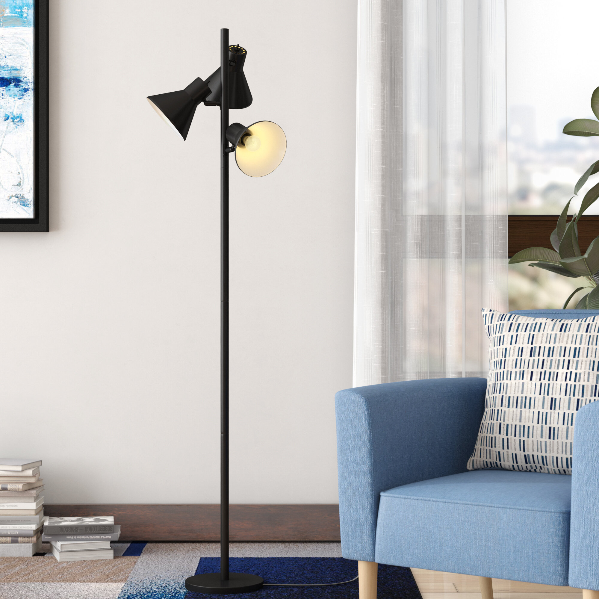 Shiny Gold Palm Tree Floor Lamp Base Only Traditional Style