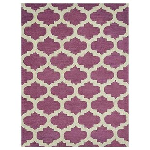 Creamer Geometric Hand-Tufted Wool Purple/White Area Rug By Darby Home Co