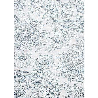 Charlton Home Karmane Floral White Blue Area Rug Reviews Wayfair