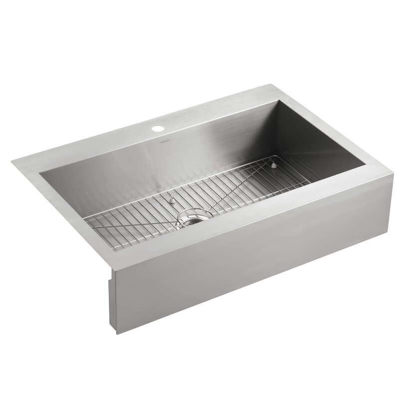 Vault Top Mount Single Bowl Stainless Steel Kitchen Sink With Shortened  Apron Front
