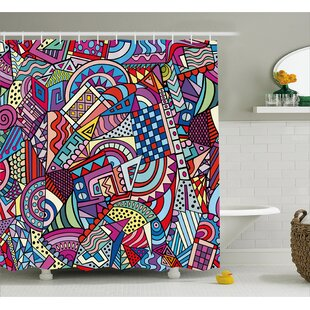 Wendy Colorful Funky Art Theme Stained Glass Style Triangle and Squares Modern Art Print Single Shower Curtain