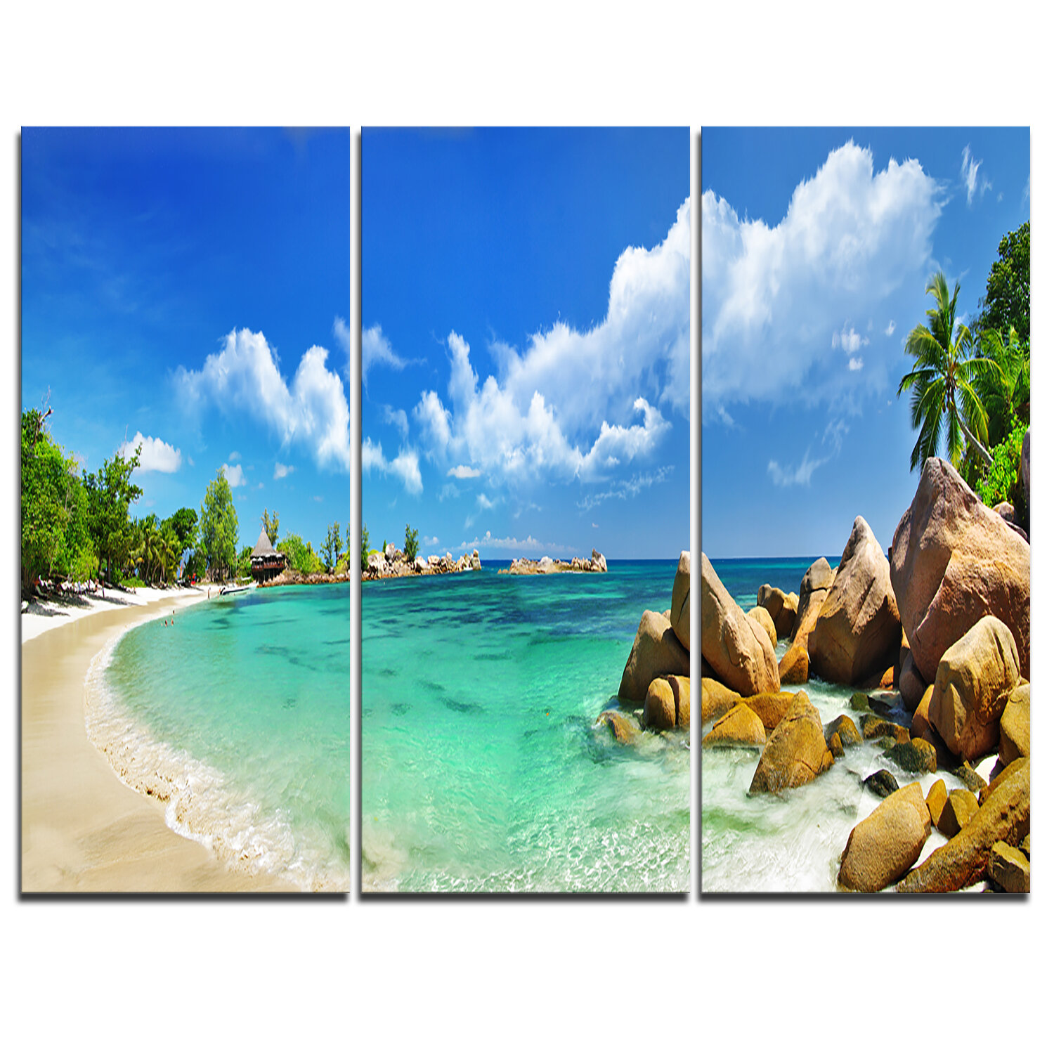 Designart Seychelles Islands Panorama 3 Piece Graphic Art On Wrapped Canvas Set Wayfair