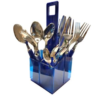 Wendt 16 Piece Stainless Steel Flatware Set with Plastic Holder, Service for 4