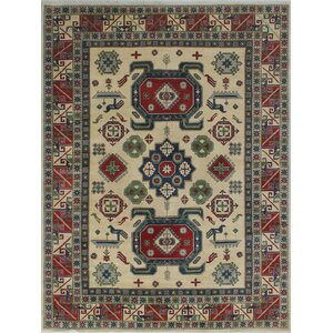 Browner Kazak Hand Knotted Wool Ivory Area Rug