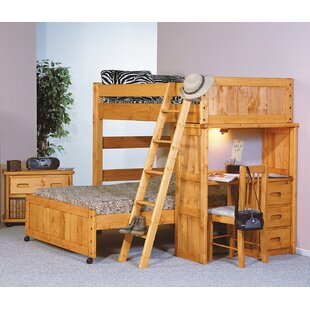 Harriet Bee Aloway Twin Over Full Loft Bed with Desk End