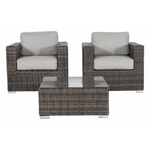 Rosecliff Heights Vardin 3 Piece Conversation Set with Cushions