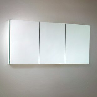 60 x 26 Recessed or Surface Mount Frameless Medicine Cabinet with 4 Adjustable Shelves Fresca