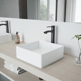 VIGO VIGO Matte Stone Square Vessel Bathroom Sink with Faucet