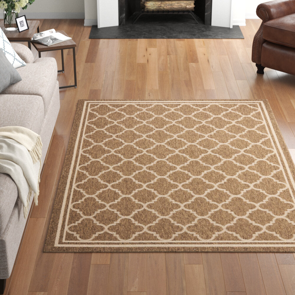 Three Posts Adelia Geometric Brown Bone Indoor Outdoor Area Rug Reviews Wayfair