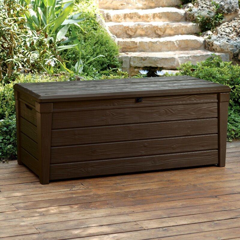 brightwood 120 gallon plastic deck box patio storage ideas