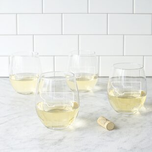 Home State 21 oz. Stemless Wine Glass (Set of 4)